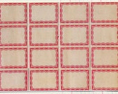 16 Self Adhesive Labels - Favorite Vintage Style Pink Scalloped Border Labels - Office Supplies Vintage Style Labels - Gift Tag Labels