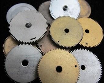 12 Antique Vintage Clock Watch Parts Cogs Gears Assemblage Steampunk Industrial Art  CG 17
