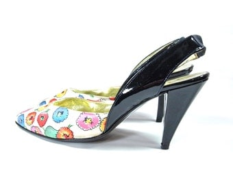Designer ESCADA SHOES. 1990s Satin Slingback Pumps.  Floral Heels. Size 9B.