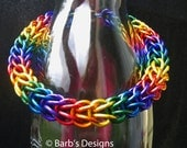 Rainbow Chainmaille Bracelet In Anodized Aluminum For Men And Women