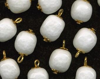 Vintage White Glass Beads Cubes w/ Bead Caps & Head Pin 24 Pcs.