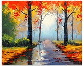 AUTUMN  PAINTING palette knife landscape by Graham gercken