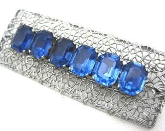Vintage Art Deco Brooch - Blue Rhinestones
