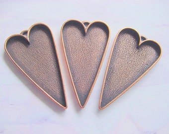 3 Heart Pendant Blanks Extra Large Copper Plated Pewter  ND179