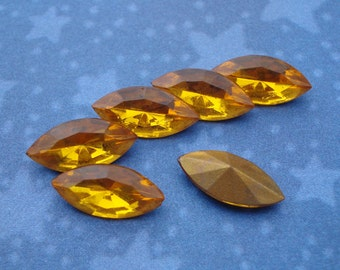 Vintage 15x7mm Czech Topaz Gold Foiled Pointed Back Glass Navette Jewels or Cabs (6 pieces)