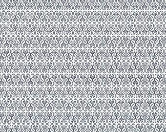 Blue Palmetto Print Italian Paper ~ Rossi Italy  R143