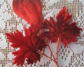 Vintage Millinery Leaves 1950s Japan Red Velvet Leaves And Pods 2 Sprigs