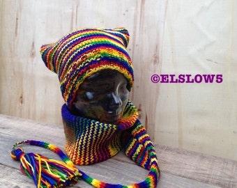 Long Adult HandKnit Stocking Cap / Michel Hut RoyGBiv Rainbow VibGYor Show Your Pride Made to order