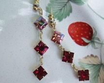 Red Ombre Earrings, red earrings, Swarovski earrings, red dangle, rose crystal, ruby red earrings, Siam jewelry
