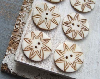 white bone buttons brown  carved flat round bone Buttons star flower sun  ethnic  exotic organic style   - 22  mm / 6 pcs - 2cbt17