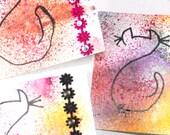 Cat notecards set of four handmade