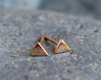 14k Solid Rose Gold 4mm Geometric Triangle Stud Earrings Jewelry Tiny Dainty Simple Modern Mountain Jewelry