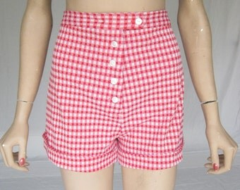 Vintage 70s Red and White Gingham High Waist Shorts