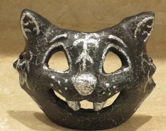 Paper mache Halloween Black Cat Mask