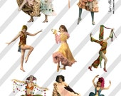 Show Girls Digital Collage Sheets 4 Sheets D17A, B, C and D- Instant Download