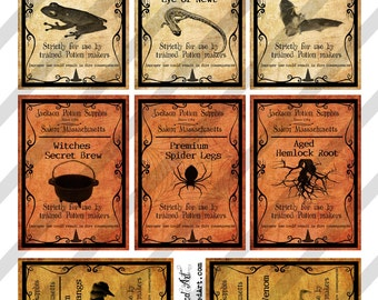 Digital Collage Sheet  Halloween Poison Labels  (Sheet No.O194) Instant Download