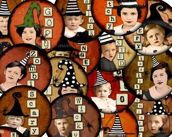 Digital Collage Sheet Bottle Cap 1 inch Circles Halloween Images (Sheet no. FS199) Instant Download