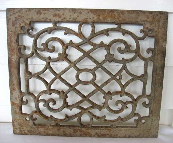 Decorative Open Work Metal Grate With Old Finish Patina