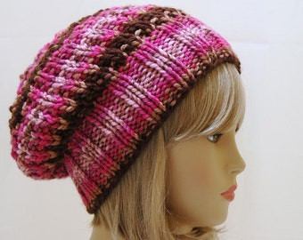 Pink Brown Slouchy Hat, Knit Slouchy Hat, Slouchy Beanie Hat, Slouch Hat, Oversized Beanie, Chunky Hand Knit Womens Winter Hat, Reversible