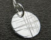 Cross Hatch Pendant, sterling silver necklace, dainty charm necklace