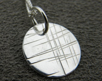 Cross Hatch Pendant, sterling silver necklace, dainty charm necklace