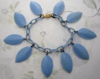 vintage blue celluloid leaf bracelet - j5179