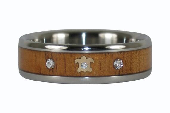 Three Diamond Anniversary Ring with Gold Turtle