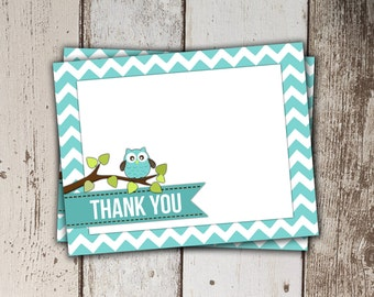 Owl Thank You Card - blue chevron - Instant Download