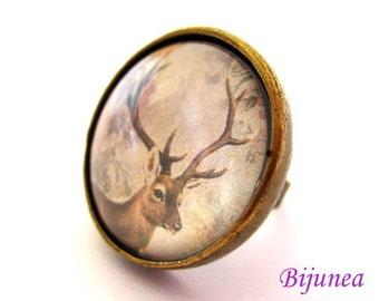 Deer ring - Nature Deer ring - Adjustable Deer ring - Solid Deer ring - Forest Deer ring r900