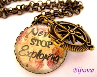 Never stop exploring necklace - Quotes necklace - Heart love necklace - Compass necklace n706