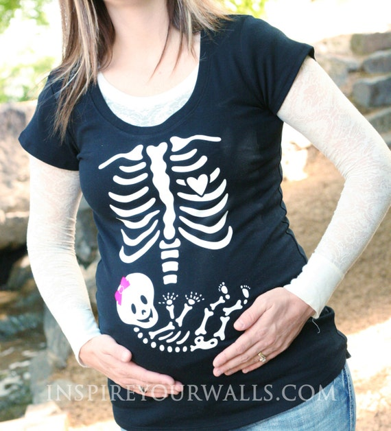 Maternity Skeleton Applique - DIY heat transfer Iron On Pregnant Skeleton for your t-shirt