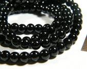 16 inch strand shiny round Blackstone beads, 6mm