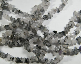 36 inch strand Natural Tourmalinated Quartz med/small chip/nugget beads