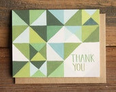 Green Geometric Thank You Illustrated Card