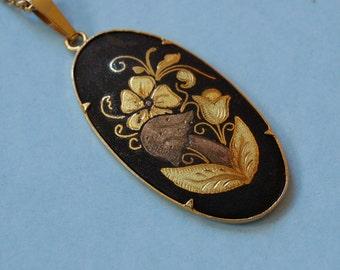 Damascene Necklace Black Gold Flowers Vintage 1/20 12 kt Gold Filled Chain