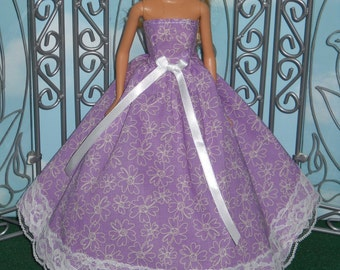 Barbie Doll Dress Handmade Purple with Lace Strapless Gown