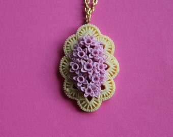 Lavender and Ivory Flower Cluster Cabochon Necklace