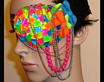 Neon couture KPOP Harajuku cyber decoden CANDY bows feathered Eye Mask eye Patch