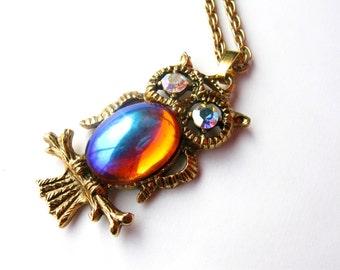 Vintage Owl Moonstone Necklace