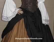 DDNJ 4pc Reniassance Corset Style Underbust Bodice Chemise Skirts Plus Custom Made Any Size Anime Steampunk Cosplay Pirate Gypsy Kawaii larp
