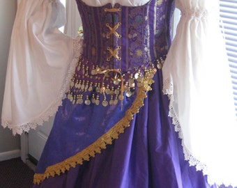 DDNJ Reversible Corset Style Underbust Bodice Chemise Skirts 5pc Costume Gypsy Pirate Wench Medieval Renaissance Plus Custom Made ANY Size