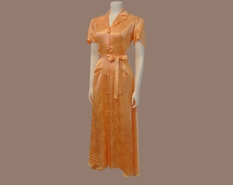 30s gown / Peachy Keen Vintage 1930's Dressing Gown Robe