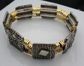 Bracket, silver, handmade, artisan, Square Fine Silver Box Bracelet