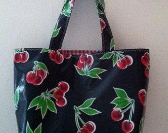 Beth's Black Cherry Oilcloth Medium Market Tote Bag