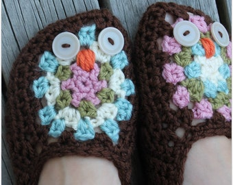 Download Now - CROCHET PATTERN - Night Owl Slippers - Ladies Sizes - Pattern PDF