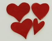 Red Heart Ceramic MosaicTiles - 4 handmade pottery clay tiles to mosaic