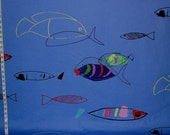 Blue fish fabric blue ocean fabric minimalist fabric modern abstract drawing minimilist drawing graphic art FREE SHIPPING  1 yard