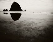 Clearance sale, black and white beach photography, Cannon Beach photo, Haystack Rock print, Pacific Northwest Oregon Coast art, 5x7 print