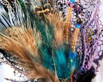 Purple Aqua Sea Fan Mermaid Reversible Hair Stick