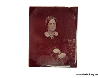 1850s Ruby Red Glass Ambrotype Photograph Elegant Woman Lace Collar